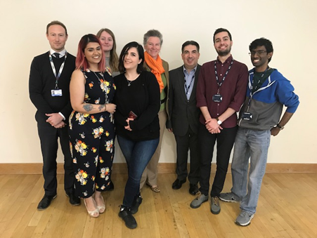 PhD students, clinical research fellow and scientific officer with laboratory head Dr Emmanouil Karteris and Professor Marcia Hall (centre)